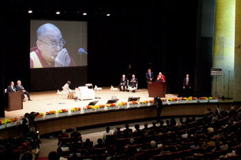 His Holiness the Dalai Lama speaking at the Global Environmental Forum for the Next Generation at Yomiuri Hall in Tokyo, Japan on April 6, 2015. Photo/Tenzin Jigmey