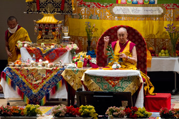 His Holiness the Dalai Lama during the afternoon session of his teachings at Showa Joshi Women's University in Tokyo, Japan on April 13, 2015. Photo/Tenzin Jigmey