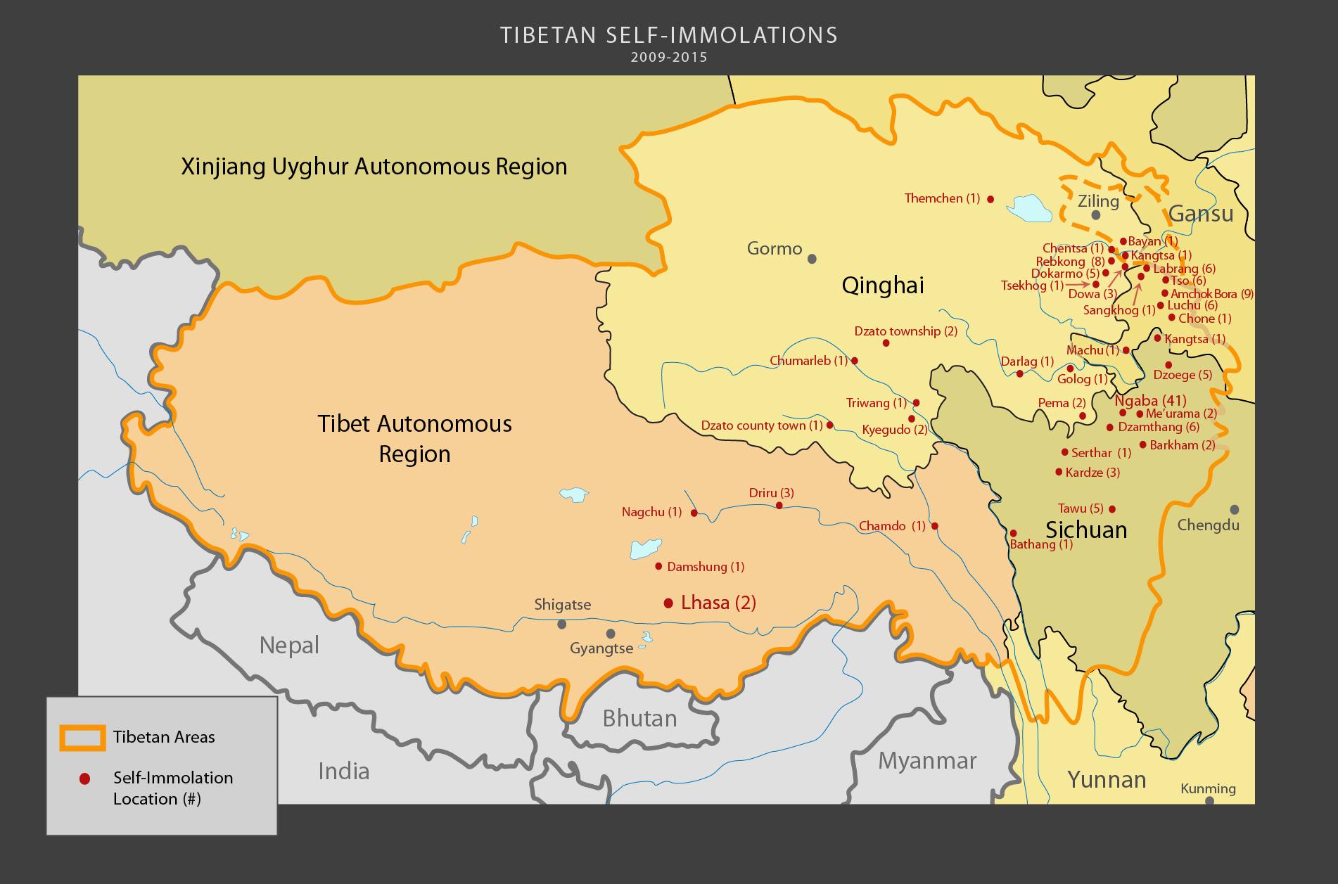 Tibetan self-immolations from 2009-2015