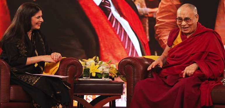 His Holiness the Dalai Lama with NDTV's Sonia Singh for a special session of NDTV Dialogues, 7 April 2016.