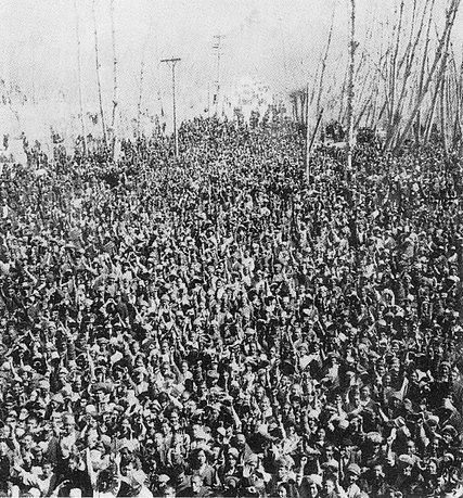 On March 10, 1959, several thousand Tibetans, fearing that the Chinese might abduct the Dalai Lama, gathered at the Norbulingka summer palace to protect the Tibetan spiritual leader. Credit The Office of Tibet, Washington, D.C.