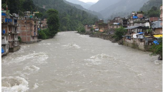 The main part of Barabise town managed to withstand the monsoon floods but it suffered badly in last year's earthquake