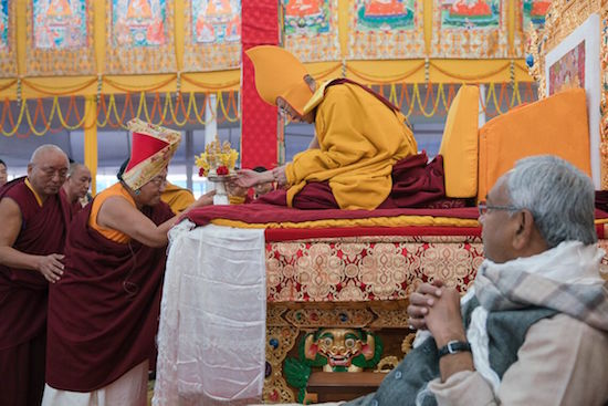 Sakya Trizin Rinpoche presenting offerings to His Holiness the Dalai Lama during the Long Life Offering Ceremony for His Holiness the Dalai Lama at the Kalachakra teaching ground in Bodhgaya, Bihar, India on January 14, 2017. Photo/Tenzin Choejor/OHHDL