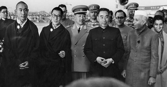 HH the Panchen Lama, HH Dalai Lama, Ciu En Lai, Pandit Nerhu, Indira Gandhi 1956