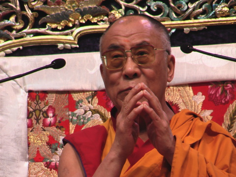 His Holiness the Dalai Lama at the start of the teaching