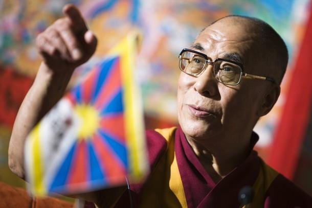 Sua santità il Dalai lama e la bandiera tibetana