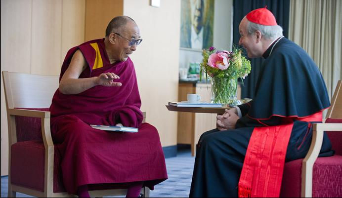 His Holiness the Dalai Lama with Cardinal Christoph Schönborn arcibishoph of Wien