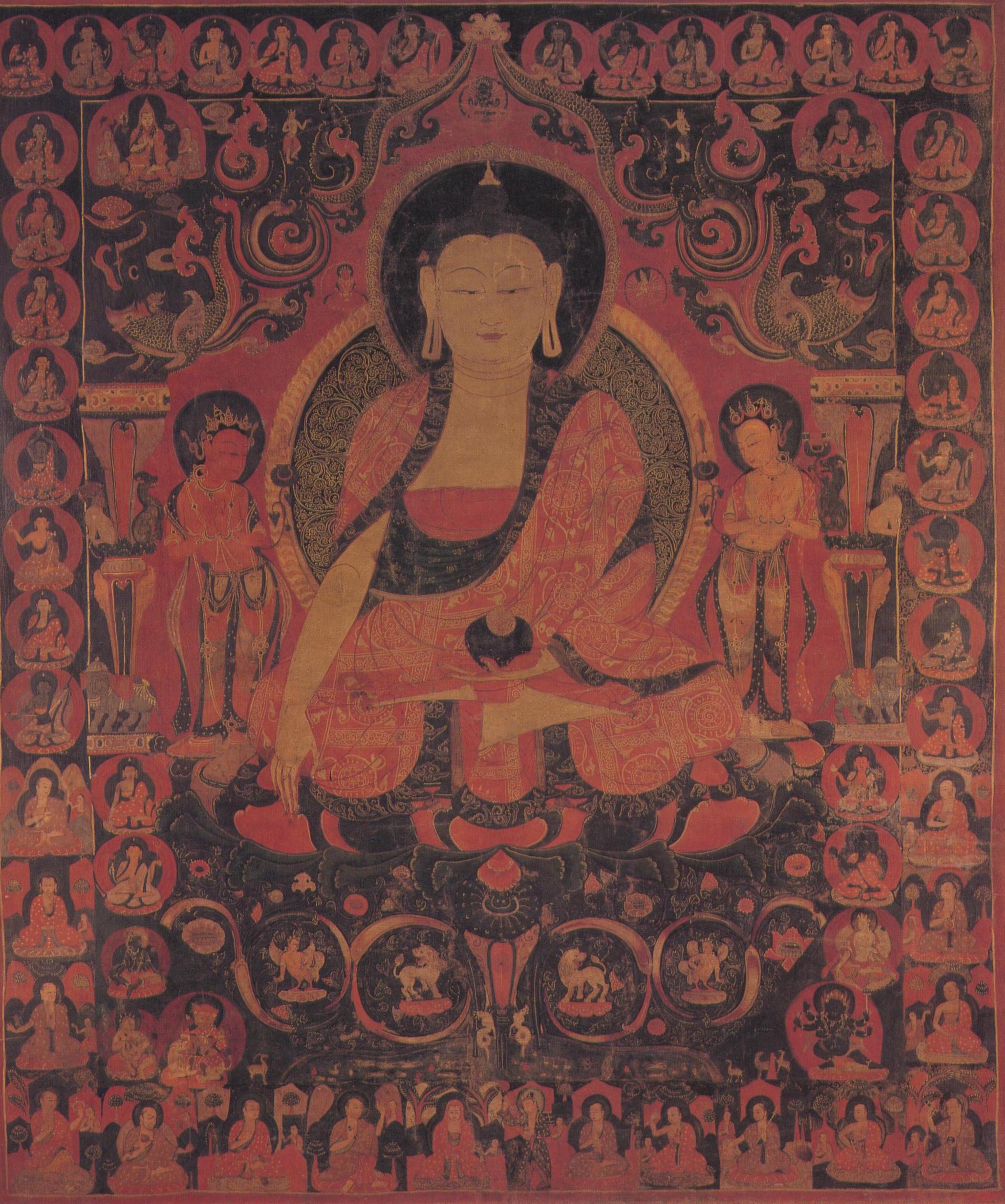 Shakyamuni Buddha e due Bodhisattva Tibet Occ. Guge XV sec