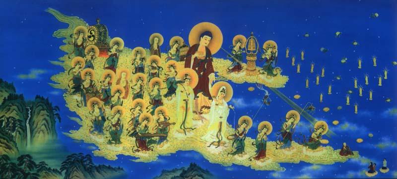 Buddha Amitabha riceve i visitatori del paradiso di Sukavati