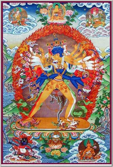 La divinità di Kalachakra (yab-yum) simbolizza l'unione del principio maschile del metodo con quello femminile della saggezza.