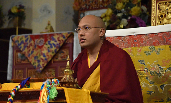 "H.H. Gyalwang Karmapa: ""We begin with the training in the three types of individuals""."