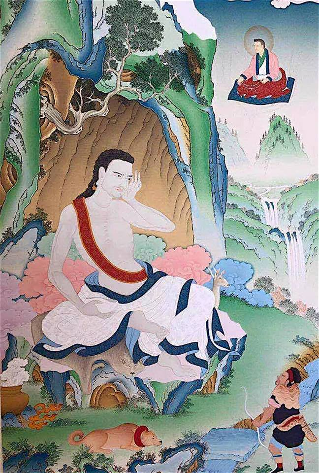 Milarepa: When in one's own mind one ponders On the original state of Mind, Illusory thoughts of themselves dissolve