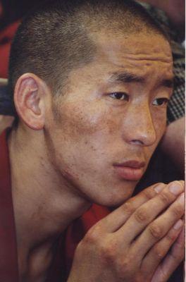 Un monaco ascolta con devozione gli insegnamenti di Sua Santità