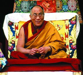 """Sua Santità il Dalai Lama: """"Bisogna far riferimento al Buddha e non ad altri, come espresso nella Madhyaika, il Buddha non esprime caratteristiche intrinseche, ma esprime il cammino dell'interdipendenza, della realtà convenzionale e della realtà ultima""""."""