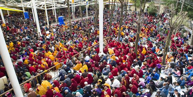 decine di migliaia di monaci, tibetani, indiani ed occidentali sono convenuti sfidando i rigori del mattino nivale di Dharamsala per ascoltare gli insegnamenti di Sua Santità il Dalai Lama